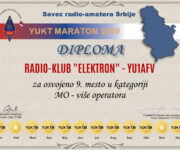 Diploma za zauzeto 9. mesto u maratonu u kategoriji MO - više operatora