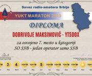 Dobrivoje Maksimović, osvajač 7. mesta u kategoriji SO SSB u konkurenciji velikog broja stanica