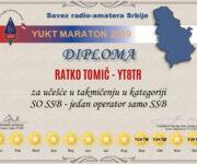 Diploma za učešće u maratonu u kategoriji SO SSB za našeg Ratka Tomića